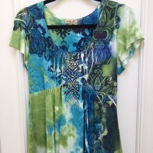 One World SS flowy peasant top blue and green size